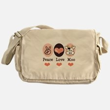 Peace Love Moo Cow Lover Messenger Bag
