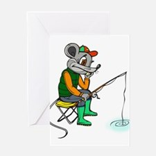 Fishing Mouse Greeting Card