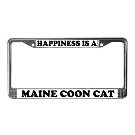 Happiness Is A Maine Coon Cat License Plate Frame