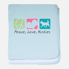 Peace, Love, Huskies baby blanket