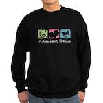 Peace, Love, Huskies Sweatshirt (dark)