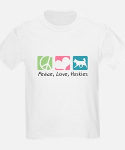 Peace, Love, Huskies T-Shirt