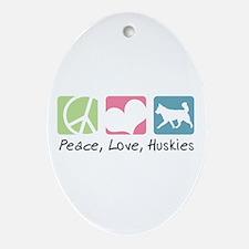 Peace, Love, Huskies Ornament (Oval)