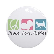 Peace, Love, Huskies Ornament (Round)