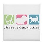 Peace, Love, Huskies Tile Coaster