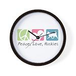 Peace, Love, Huskies Wall Clock
