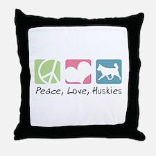 Peace, Love, Huskies Throw Pillow