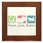 Peace, Love, Huskies Framed Tile