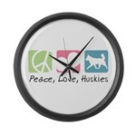 Peace, Love, Huskies Large Wall Clock
