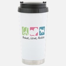 Peace, Love, Huskies Stainless Steel Travel Mug