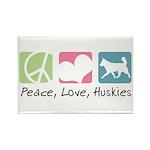 Peace, Love, Huskies Rectangle Magnet (100 pack)