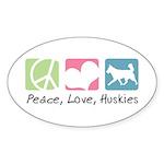 Peace, Love, Huskies Sticker (Oval 10 pk)