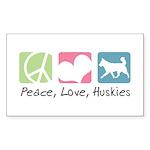 Peace, Love, Huskies Sticker (Rectangle 10 pk)