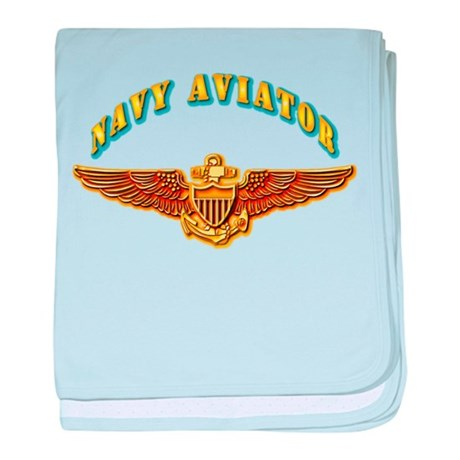 Navy - Navy Aviator Badge baby blanket