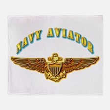 Navy - Navy Aviator Badge Throw Blanket