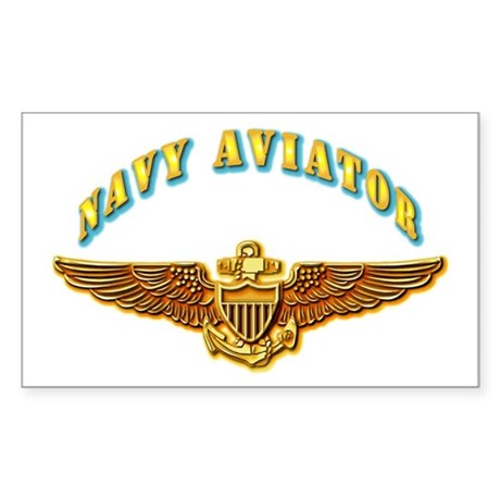 Navy - Navy Aviator Badge Sticker (Rectangle)