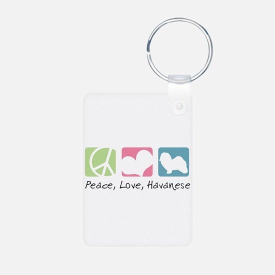 Peace, Love, Havanese Aluminum Photo Keychain