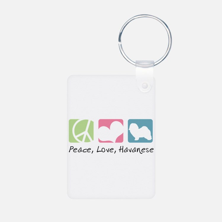 Peace, Love, Havanese Aluminum Photo Keychain