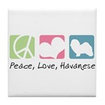 Peace, Love, Havanese Tile Coaster