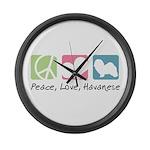 Peace, Love, Havanese Large Wall Clock