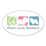 Peace, Love, Havanese Sticker (Oval 50 pk)