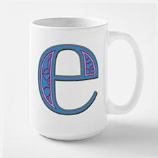 E Blue Glass Large Mug