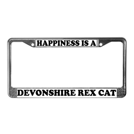 Happiness Devonshire Rex Cat License Plate Frame