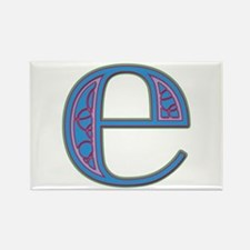 E Blue Glass Rectangle Magnet