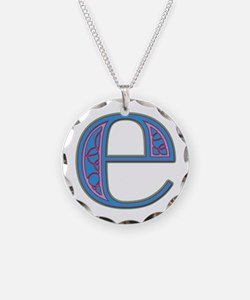 E Blue Glass Necklace