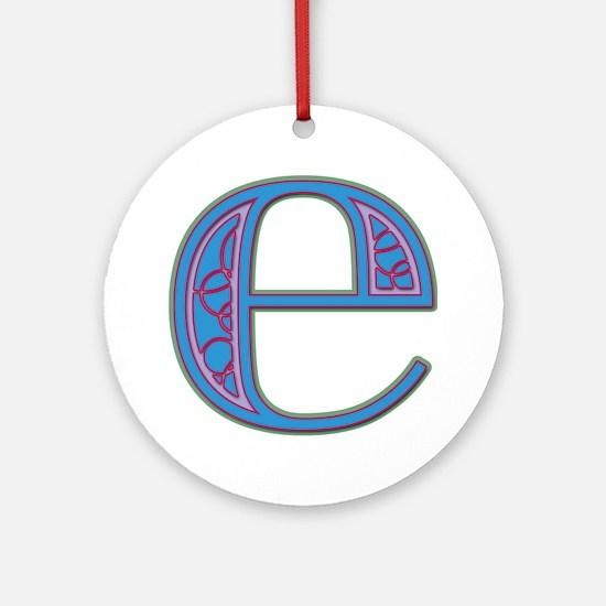 E Blue Glass Round Ornament