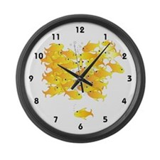 Gold Fish Rush Large Wall Clock