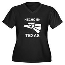 Hecho en Texas Women's Plus Size V-Neck Dark T-Shi