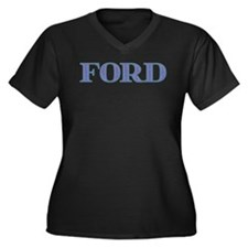 Ford Blue Glass Women's Plus Size V-Neck Dark T-Sh