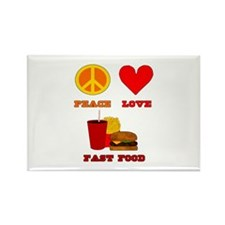 Peace Love Fast Food Rectangle Magnet (10 pack)