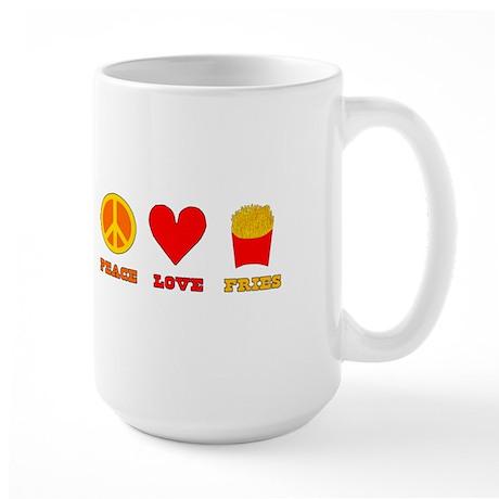 Peace Love Fries Large Mug