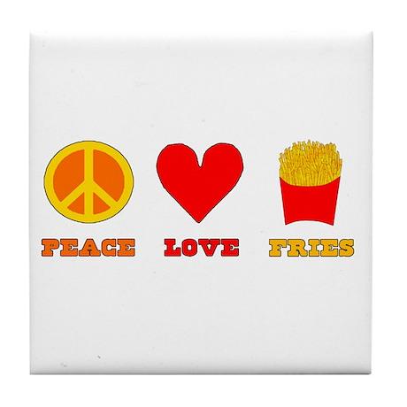 Peace Love Fries Tile Coaster