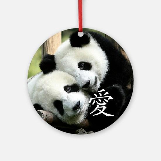 Chinese Loving Little Pandas Ornament (Round)