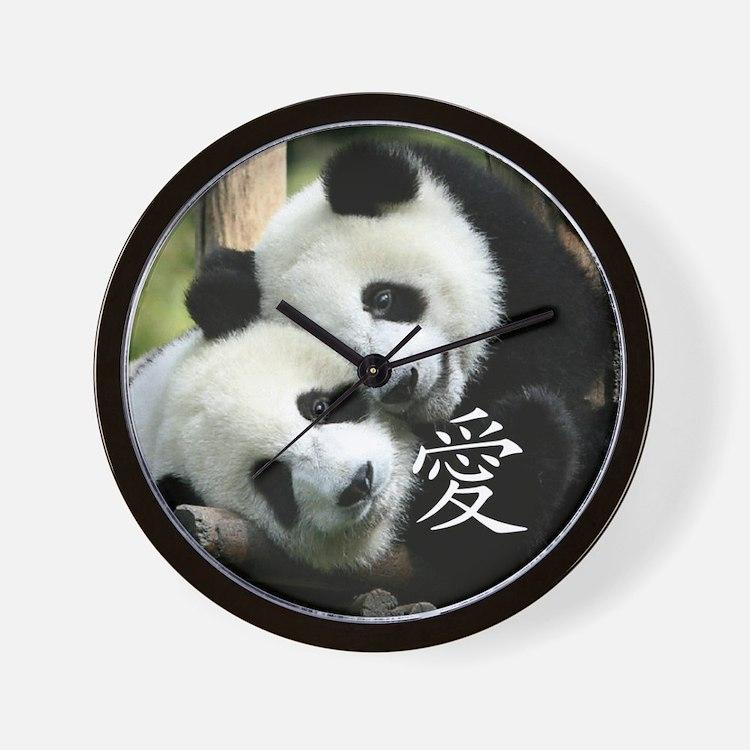 Chinese Loving Little Pandas Wall Clock