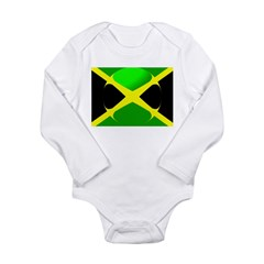Jamaican Flag With Bubble Long Sleeve Infant Bodys