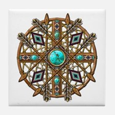 Beads and Arrows Mandala Tile Coaster