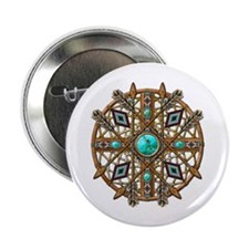 """Beads and Arrows Mandala 2.25"""" Button"""