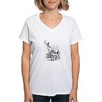 Deer Family Women's V-Neck T-Shirt