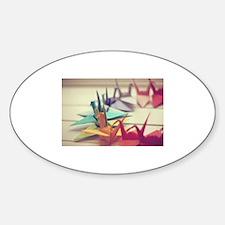 Paper Cranes *Origami Sticker (Oval)