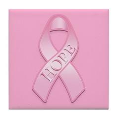 Pink Ribbon Hope Tile Coaster