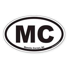 Moncks Corner South Carolina MC Euro Oval Decal