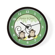 Silly Monkeys Wall Clock - Austin and Jarod