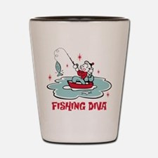 Retro Fishing Diva Shot Glass
