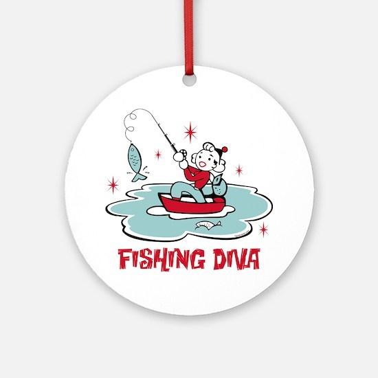 Retro Fishing Diva Ornament (Round)