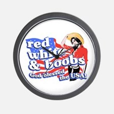 red, white, and BOOBS Wall Clock