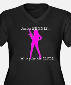 Cute Bonnie and clyde Women's Plus Size V-Neck Dark T-Shirt